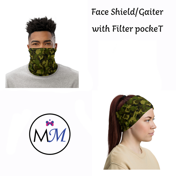Face Cover Gaiter -  Camo - Multiuse Reuseable with Filter Inserts - - USA Made