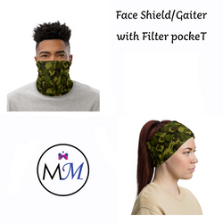 WS -Face Cover Gaiter -  Camo - Multiuse Reuseable with Filter Inserts -