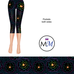 Fluorescent Glow Flowers Capri Length Leggings with pockets