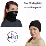 Face Cover Gaiter -  Cat - Multiuse Reuseable with Filter Inserts - - USA Made