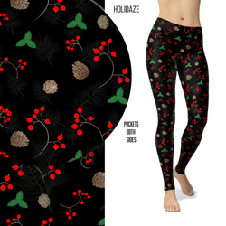 Holidaze Holly Berry Leggings with Pocket