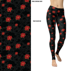Sparkle Christmas Flowers Leggings