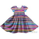 Striped Bright Sunsets Twirl Dress
