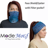 Face Cover Gaiter - Covid19 Too Close - Multiuse Reuseable with Filter Inserts