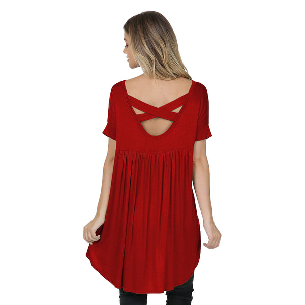 Red Criss Cross Back V Neck Tunic