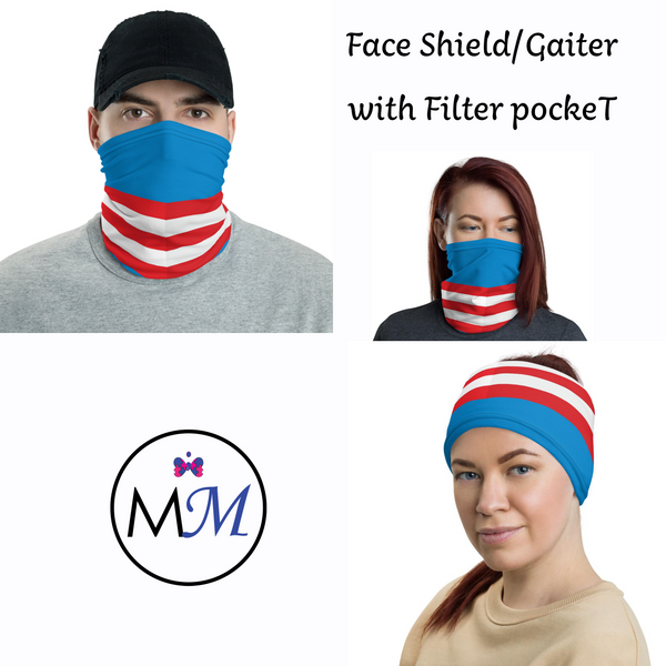 WS RTS Face Cover Gaiter - Flag - Multiuse Reuseable with Filter Inserts