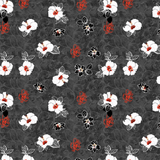 Marble Floral Black and Red Floral