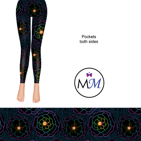 Fluorescent Glow Flowers Full Length Leggings with pockets