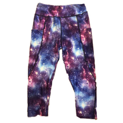 Galaxy Capri Leggings with Pockets