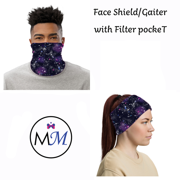 WS Face Cover Gaiter -  Galaxy - Multiuse Reuseable with Filter Inserts