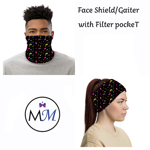 Face Cover Gaiter -  Gamer - Multiuse Reuseable with Filter Inserts
