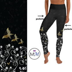 Gold Butterfly Effect Full Length Leggings with Pockets