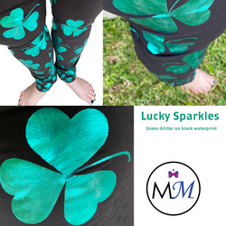 WS Glitter Green Shamrocks on Black with Real Glitter and Pockets