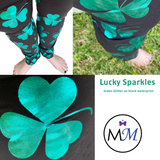 Glitter Green Shamrocks Clover on Black with Real Glitter and Pockets