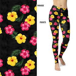 Paradise Hawaiian Hibiscus Pink Yellow Leggings with Pockets