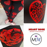 Glitter Hearts with Roses on Black with Real Glitter and Pockets
