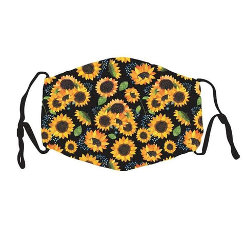 Kids Face Cover -  Sunflower - Reuseable with 5 Filter Inserts - Ready to Ship