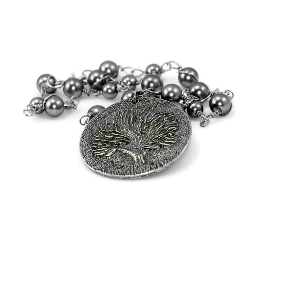 Silver Tree Of Life Wire Worked Gray Beads Long Necklace With Pendant