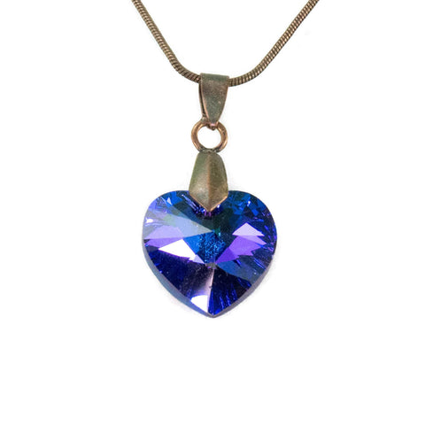 Violet Swarovski Heart Necklace On Bronze Snake Chain