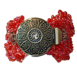 Bracelet Cuff - Red With Antiqued Gold