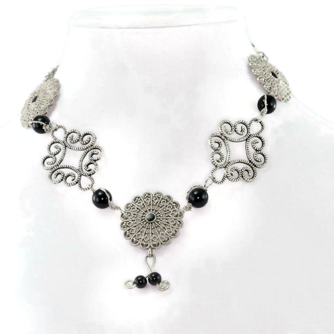 Silver Filigree Adjustable Collar Necklace