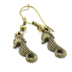 Ocean Sea Horse Antique Gold Earrings