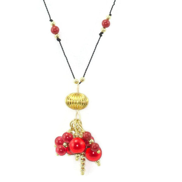 Gold And Red Tassel Necklace On Knotted Black Silk