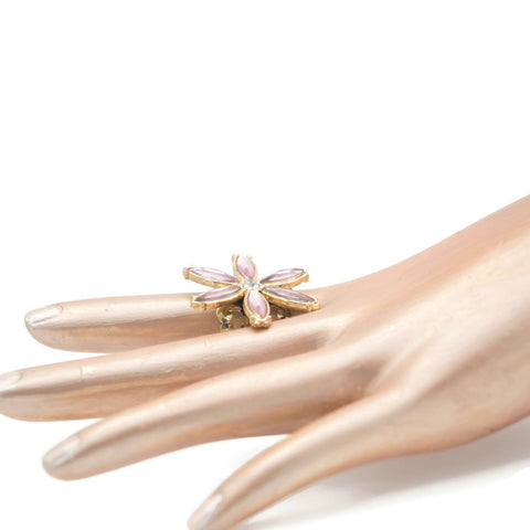 Big Pink Gold Flower Adjustable Statement Ring