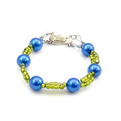 Blue And Green Beaded Bracelet - Large Size
