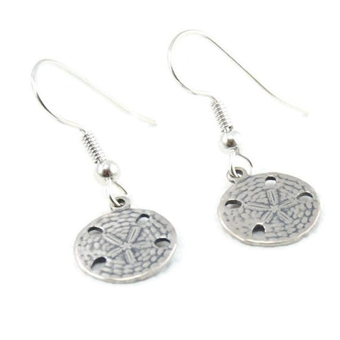 Antiqued Sterling Plated Sand Dollar Earrings