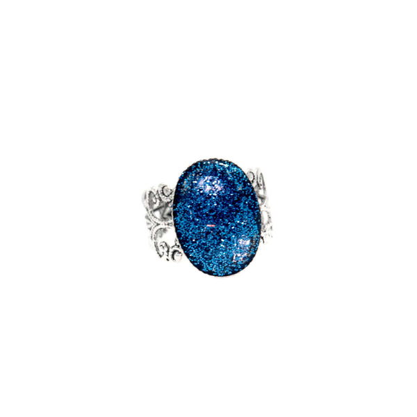 Cerulean Blue Sparkle Dome Adjustable Filgree Ring