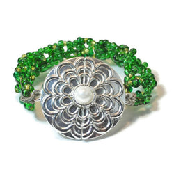 Crochet Green And Silver Bracelet