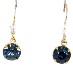 Gold Swarovski Dark Blue Indigo Drop Earrings
