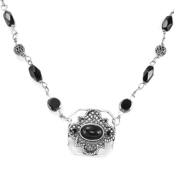 Black, Swarovski, And Silver Wire Wrapped Necklace