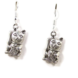 Silver Lucky Cat Earrings Maneki Neko