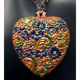 Antiqued Handpainted Heart With Copper Chain
