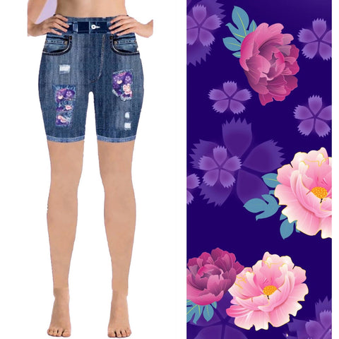 Ripped Jean Patterned Shorts with Pockets- Ready to Ship