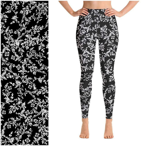 Black White Leggings White Vines on Black