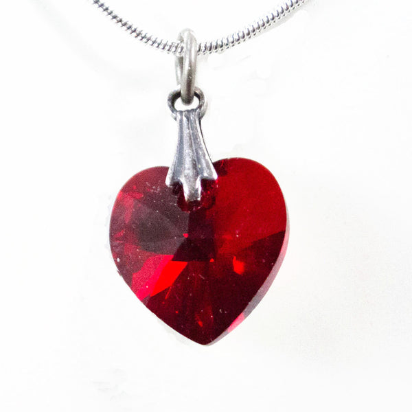 Deep Red Swarovski Heart Necklace