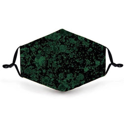 Face Cover - Deep Emerald Paint Splatter - Reuseable with 5 Filter Inserts - Ready to Ship