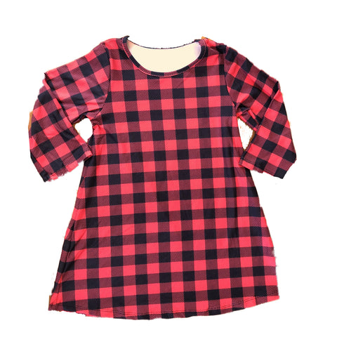 Girls Buffalo Plaid Black and Red 3/4 Sleeve Dress