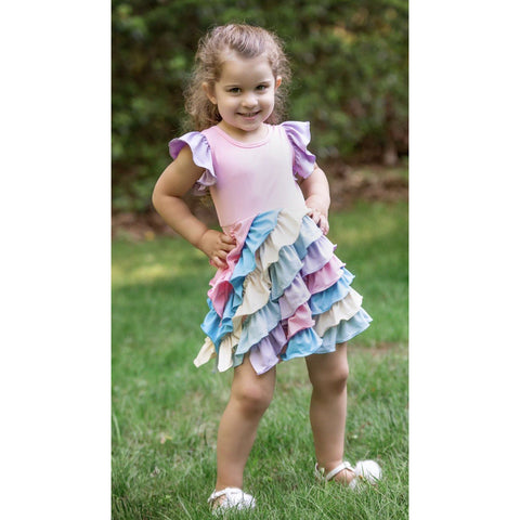 Rainbow Sherbet Ruffle Hugs Dress