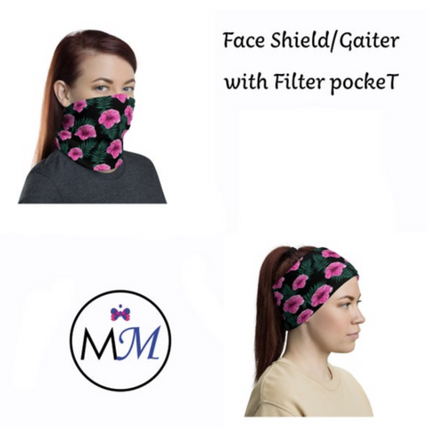 WS RTS Gaiter - Pink Flowers - Multiuse with Filter Inserts -