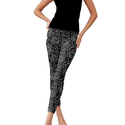 Black Stencil Rose Leggings