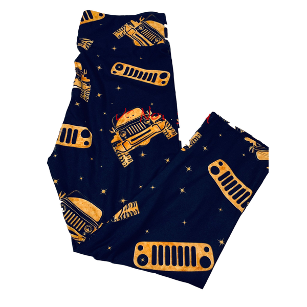 Golden Toy Gold Jeeper Black Capri Leggings