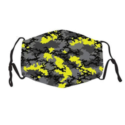 Kids Face Cover -  Yellow Gray Camo - Reuseable with 5 Filter Inserts - Ready to Ship