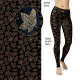 Copper Leaves Leggings with Copper Glitter and Pockets