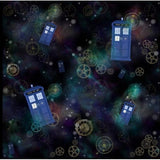 Blue Phone Booth on Black used by a Doctor Who Travels in Space Leggings with Pockets