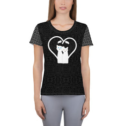 Love is Love Paw Print Sleeve All-Over Print Women's Athletic T-Shirt