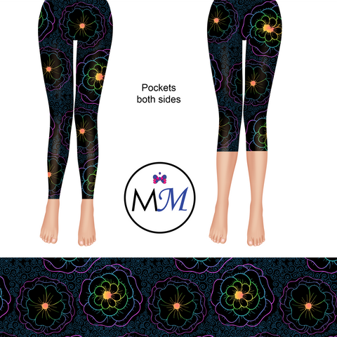Pre Order  -Glow Flowers Leggings with pockets